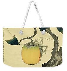 Moon Persimmon And Grasshopper Weekender Tote Bag by Katsushika Hokusai