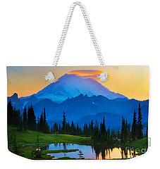 Mount Rainier Goodnight Weekender Tote Bag by Inge Johnsson