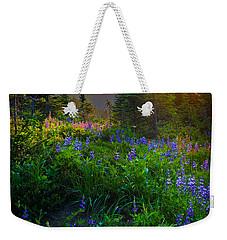 Mount Rainier Sunburst Weekender Tote Bag by Inge Johnsson