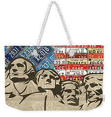 Mount Rushmore Monument Vintage Recycled License Plate Art Weekender Tote Bag by Design Turnpike