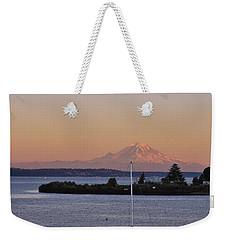 Mt. Rainier Afterglow Weekender Tote Bag by Adam Romanowicz