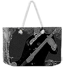 Bass Player Art Bw Weekender Tote Bag by Lesa Fine