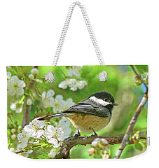 My Little Chickadee In The Cherry Tree Weekender Tote Bag by Jennie Marie Schell