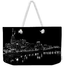 Nashville Skyline At Night In Black And White Weekender Tote Bag by Dan Sproul