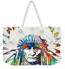 Native American Art - Chief - By Sharon Cummings Weekender Tote Bag by Sharon Cummings