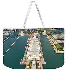Navy Pier Chicago Aerial Weekender Tote Bag by Adam Romanowicz