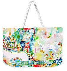 Neil Young Playing The Guitar - Watercolor Portrait.1 Weekender Tote Bag by Fabrizio Cassetta