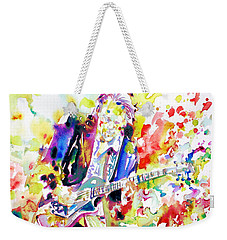 Neil Young Playing The Guitar - Watercolor Portrait.2 Weekender Tote Bag by Fabrizio Cassetta