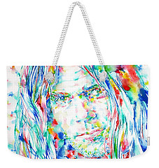 Neil Young - Watercolor Portrait Weekender Tote Bag by Fabrizio Cassetta