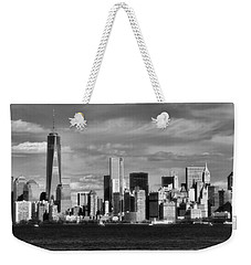 New York City Skyline Black And White Weekender Tote Bag by Dan Sproul
