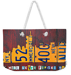 New York City Skyline License Plate Art 911 Twin Towers Statue Of Liberty Weekender Tote Bag by Design Turnpike