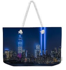 New York City Tribute In Lights Weekender Tote Bag by Susan Candelario