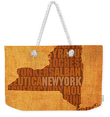 New York Word Art State Map On Canvas Weekender Tote Bag by Design Turnpike