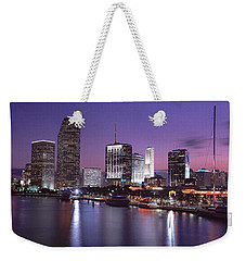 Night Skyline Miami Fl Usa Weekender Tote Bag by Panoramic Images