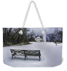 North Point Lighthouse And Bench Weekender Tote Bag by Scott Norris