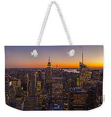 Nyc Top Of The Rock Sunset Weekender Tote Bag by Mike Reid