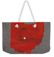 Ohio State University Buckeyes Columbus Ohio College Town State Map Poster Series No 005 Weekender Tote Bag by Design Turnpike