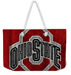 Ohio State University On Worn Wood Weekender Tote Bag by Dan Sproul
