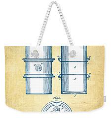 Oil Drum Patent Drawing From 1905 - Vintage Paper Weekender Tote Bag by Aged Pixel