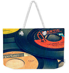 Old 45 Records Square Format Weekender Tote Bag by Edward Fielding