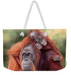 Orangutans Painting Weekender Tote Bag by Rachel Stribbling