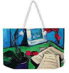 Orchid And Piano Sheets Weekender Tote Bag by Mona Edulesco