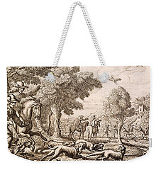 Otter Hunting By A River, Engraved Weekender Tote Bag by Francis Barlow