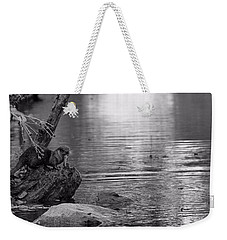 Otter's Catch In Black And White Weekender Tote Bag by Dan Sproul