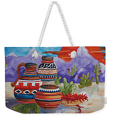 Painted Pots And Chili Peppers Weekender Tote Bag by Ellen Levinson