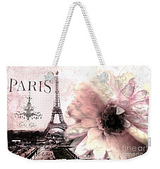 Paris Dreamy Eiffel Tower Montage - Paris Romantic Pink Sepia Eiffel Tower And Flower French Script Weekender Tote Bag by Kathy Fornal