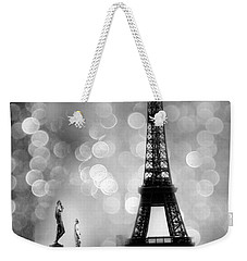 Paris Eiffel Tower Surreal Black And White Photography - Eiffel Tower Bokeh Surreal Fantasy Night  Weekender Tote Bag by Kathy Fornal
