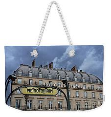 Paris Metropolitain Sign At The Paris Hotel Du Louvre Metropolitain Sign Art Noueveau Art Deco Weekender Tote Bag by Kathy Fornal