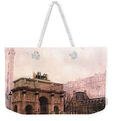 Paris Louvre Museum Arc De Triomphe Architecture Buildings - Watercolor Paris Landmarks Weekender Tote Bag by Kathy Fornal