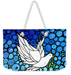 Peaceful Journey - White Dove Peace Art Weekender Tote Bag by Sharon Cummings
