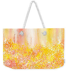 Peach And Yellow Garden- Peach And Yellow Art Weekender Tote Bag by Lourry Legarde