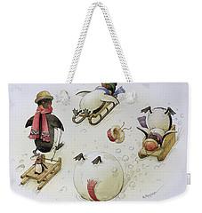 Penguins Sledging Weekender Tote Bag by Kestutis Kasparavicius