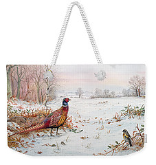 Pheasant And Bramblefinch In The Snow Weekender Tote Bag by Carl Donner