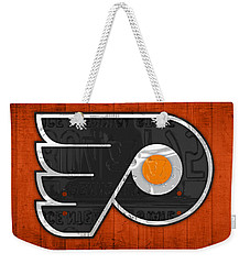 Philadelphia Flyers Hockey Team Retro Logo Vintage Recycled Pennsylvania License Plate Art Weekender Tote Bag by Design Turnpike