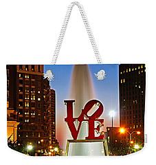 Philadelphia Love Park Weekender Tote Bag by Nick Zelinsky