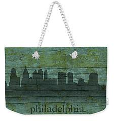 Philadelphia Pennsylvania Skyline Art On Distressed Wood Boards Weekender Tote Bag by Design Turnpike