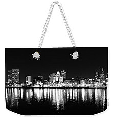 Philadelphia Skyline Panorama In Black And White Weekender Tote Bag by Bill Cannon