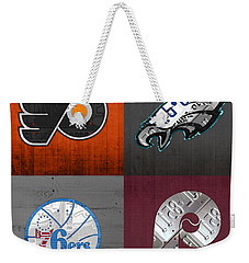 Philadelphia Sports Fan Recycled Vintage Pennsylvania License Plate Art Flyers Eagles 76ers Phillies Weekender Tote Bag by Design Turnpike