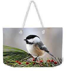 Pine Chickadee Weekender Tote Bag by Christina Rollo