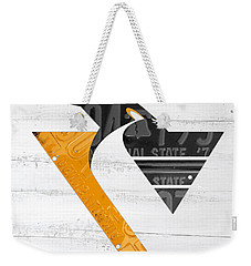 Pittsburgh Penguins Hockey Team Retro Logo Vintage Recycled Pennsylvania License Plate Art Weekender Tote Bag by Design Turnpike