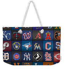 Play Ball Recycled Vintage Baseball Team Logo License Plate Art Weekender Tote Bag by Design Turnpike