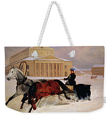 Pole Pair With A Trace Horse At The Bolshoi Theatre In Moscow Weekender Tote Bag by Nikolai Egorevich Sverchkov