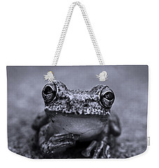 Pondering Frog Bw Weekender Tote Bag by Laura Fasulo