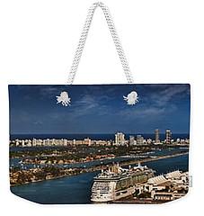 Port Of Miami Panoramic Weekender Tote Bag by Susan Candelario