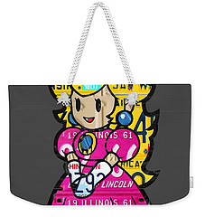 Princess Peach From Mario Brothers Nintendo Recycled License Plate Art Portrait Weekender Tote Bag by Design Turnpike