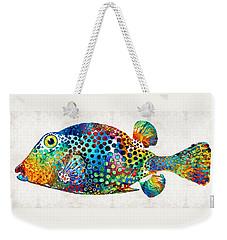 Puffer Fish Art - Puff Love - By Sharon Cummings Weekender Tote Bag by Sharon Cummings